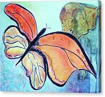Canvas Print featuring the drawing The Elephant In The Garden by Joy Braverman