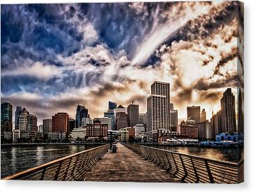 Canvas Print featuring the photograph The Embarcadero On The Waterfront At Sunset by John Maffei