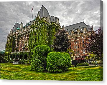 The Empress Hotel On Victoria Island Canvas Print by Gregory Dyer