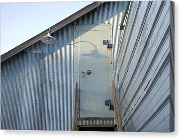 The Entry To A Metal Shed On A Sawmill Canvas Print by Joel Sartore