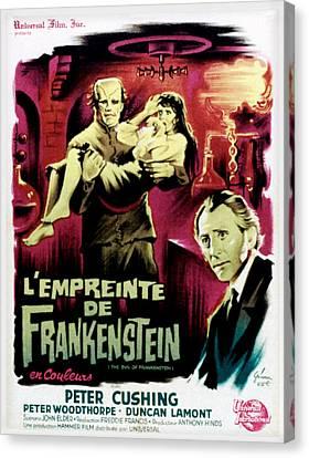 The Evil Of Frankenstein Aka Lempreinte Canvas Print by Everett
