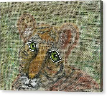 Canvas Print featuring the mixed media The Eyes Have It by Joy Braverman