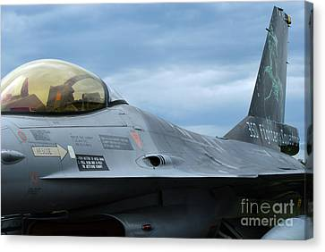 The F-16 Aircraft Of The Belgian Army Canvas Print by Luc De Jaeger