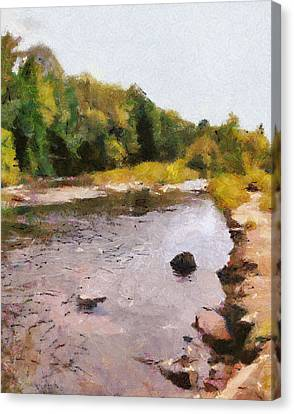 Canvas Print featuring the painting The Face In The Creek by Mario Carini
