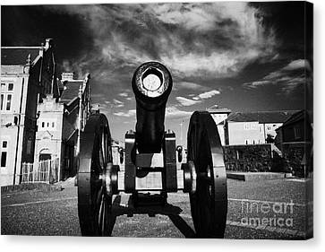 The Famous Roaring Meg Cannon On The Mall Wall And Double Bastion Section Of Derrys Walls Canvas Print by Joe Fox