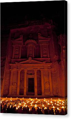 The Famous Treasury Lit Up At Night Canvas Print by Taylor S. Kennedy