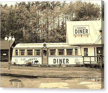 Canvas Print featuring the photograph The Farmers Diner In Sepia by Sherman Perry