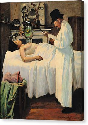 Cancer Canvas Print - The First Attempt To Treat Cancer With X Rays by Georges Chicotot