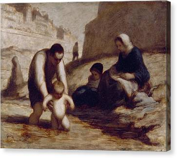 The First Bath  Canvas Print by Honore Daumier