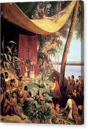 The First Mass Held In The Americas Canvas Print