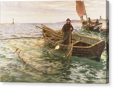 Netting Canvas Print - The Fisherman by Charles Napier Hemy