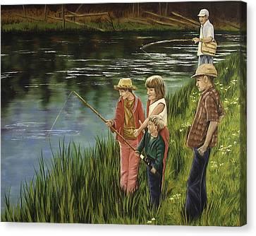 The Fishing Lesson Canvas Print by Darla Sittman