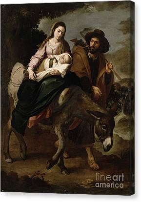 The Flight Into Egypt Canvas Print by Bartolome Esteban Murillo