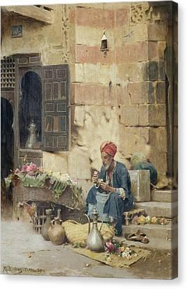 Raphael Canvas Print - The Flower Seller by Raphael von Ambros