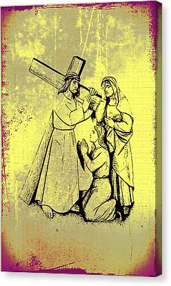 The Fourth Station Of The Cross - Jesus Meets His Mother Canvas Print by Bill Cannon