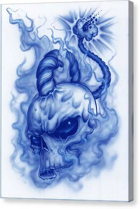 The Fuse Is Lit In Blue Canvas Print by Mike Royal