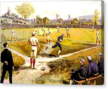 Baseball Park Canvas Print - The Game by Charles Shoup