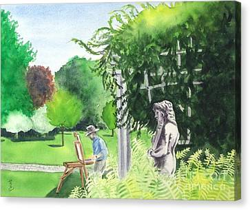 Canvas Print featuring the painting the garden at the wellers carriage house in Saline  Michigan 1 by Yoshiko Mishina