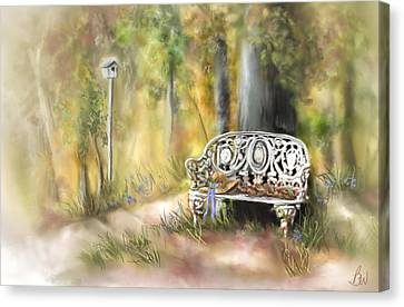 Canvas Print featuring the painting The Garden Bench by Bonnie Willis