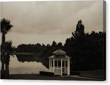 Canvas Print featuring the photograph The Gazebo At The Lake by DigiArt Diaries by Vicky B Fuller