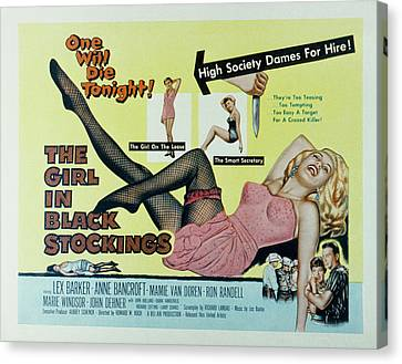 The Girl In Black Stockings, Mamie Van Canvas Print by Everett