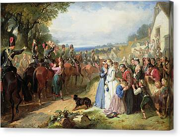 The Girls We Left Behind Us - The Departure Of The 11th Hussars For India Canvas Print