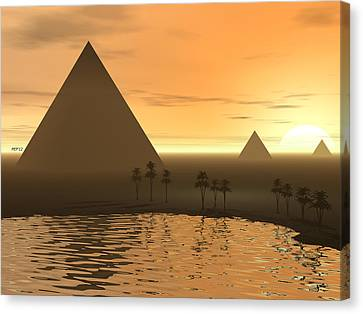 Canvas Print featuring the digital art The Giza Necropolis by Phil Perkins