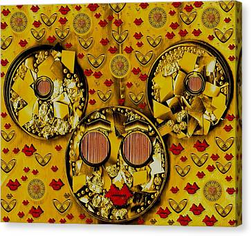 The Global Mickey Mouse In Gold Color Canvas Print