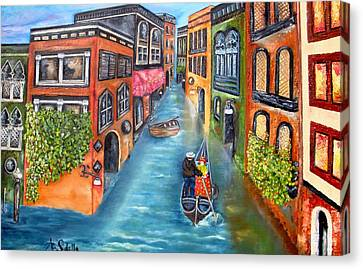 The Gondola Ride Canvas Print by Annamarie Sidella-Felts