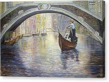 The Gondolier Venice Italy Canvas Print by Luczay