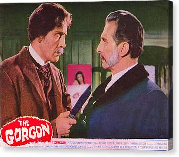 The Gorgon, From Left Christopher Lee Canvas Print by Everett