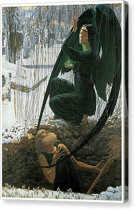 The Grave Digger's Death Canvas Print by Carlos Schwabe