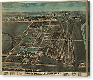 The Great Union Stock Yards Of Chicago Canvas Print by Everett