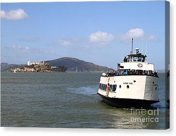 The Harbor King Ferry Boat On The San Francisco Bay With Alcatraz Island In The Distance . 7d14355 Canvas Print by Wingsdomain Art and Photography