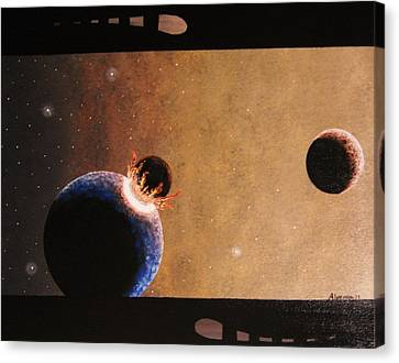 Canvas Print featuring the painting The Hell Above by Edwin Alverio