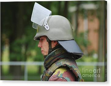 The Helmet And Visor Used Canvas Print by Luc De Jaeger