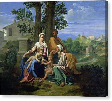 The Holy Family With Ss John Elizabeth And The Infant John The Baptist Canvas Print by Nicolas Poussin