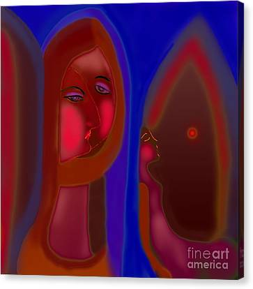 Canvas Print featuring the digital art The Home Without Dad  by Latha Gokuldas Panicker