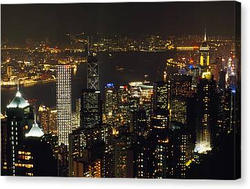 The Hong Kong Skyline Seen Canvas Print by Justin Guariglia