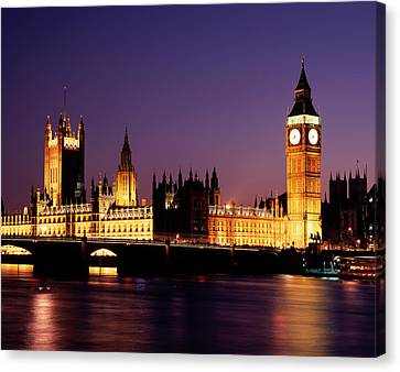City Of Bridges Canvas Print - The Houses Of Parliament At Night, London by Lothar Schulz
