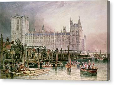 The Houses Of Parliament In Course Of Erection Canvas Print by John Wilson Carmichael