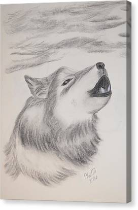 Canvas Print featuring the drawing The Howler by Maria Urso