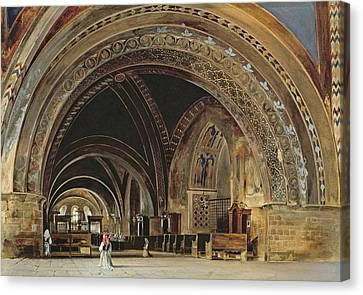 The Interior Of The Lower Basilica Of St. Francis Of Assisi Canvas Print by Thomas Hartley Cromek