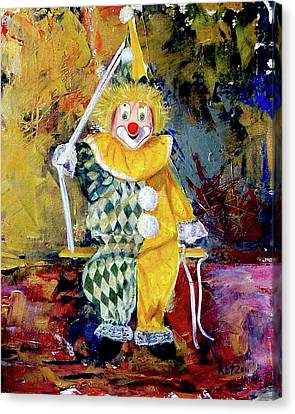 Clown Canvas Print - The Invisible Tears Of The Clown  by Kasia Turajczyk