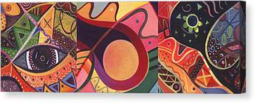 The Joy Of Design Triptych Canvas Print by Helena Tiainen