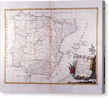The Kingdom Of Spain And Portugal Divided Canvas Print by Fototeca Storica Nazionale