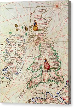 The Kingdoms Of England And Scotland Canvas Print by Battista Agnese