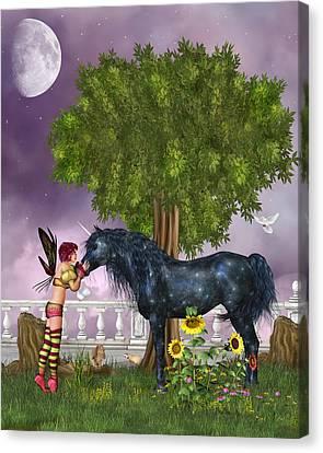 The Last Black Unicorn Canvas Print