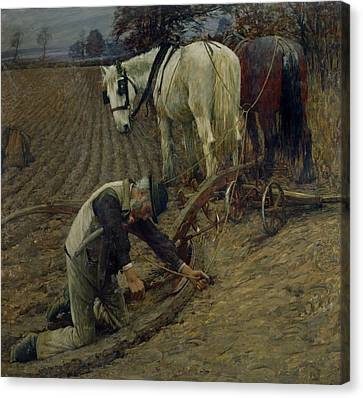 The Last Furrow Canvas Print by Henry Herbert La Thangue