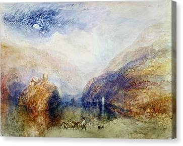 The Lauerzersee With The Mythens Canvas Print by Joseph Mallord William Turner